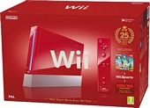 Nintendo Wii Console Red with Wii Sports plus New Super Mario Bros and Motion Plus Controller