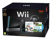 Nintendo Wii Console Black with Wii Sports Mario Kart and Black Wii Wheel Motion Plus Controller