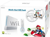 Nintendo Wii Console White with Mario Kart Includes White Wii Wheel and Wii Remote