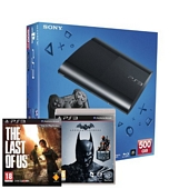 Sony PlayStation 3 500GB Super Slim Console with Batman Arkham Origins Plus The Last of Us (PS3)
